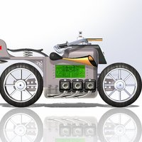 Small Dieselpunk Motorbike - Digital Table Clock Case 3D Printing 38253