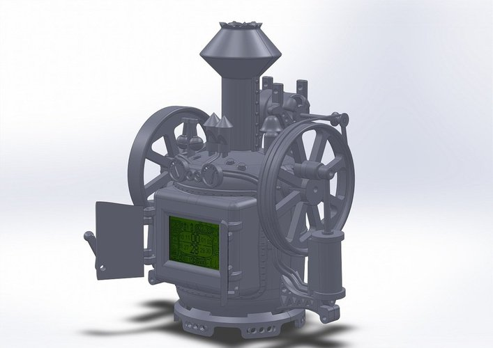 Steampunk digital clock 3D Print 38399