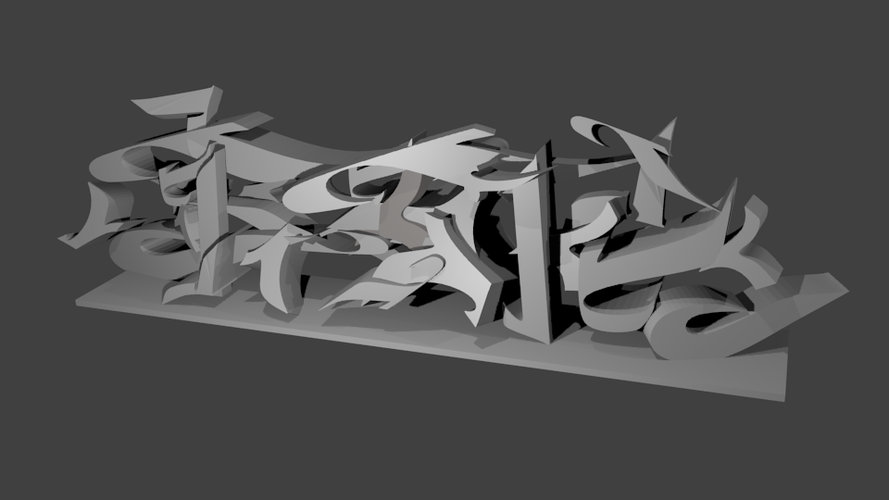 Graffity font parts 3D Print 38470