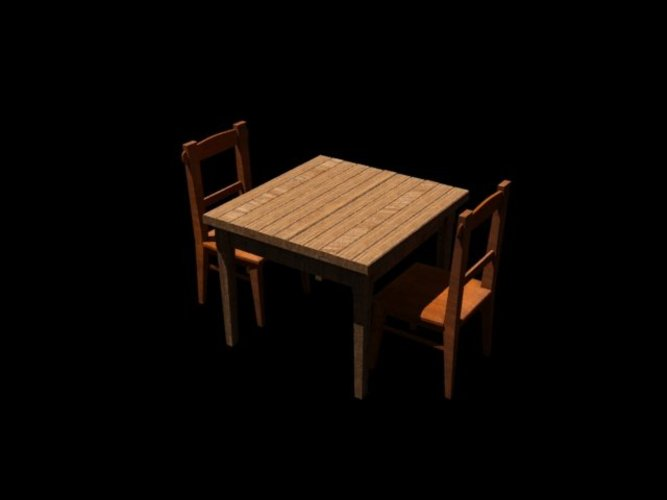 Old table & chair 3D Print 39057