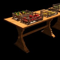 Small A fruit market / table 3D Printing 39062