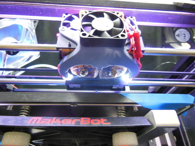 Replicator 2X Fan Duct with mounting holes for 2 5mm LED lights 3D Print 39207