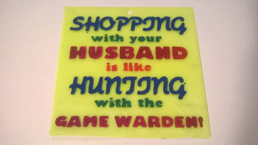 Shopping With Game Warden Sign 3D Print 39553