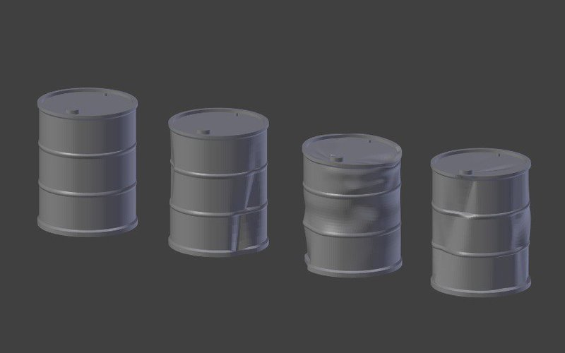Battered Oil Barrels 3D Print 39874