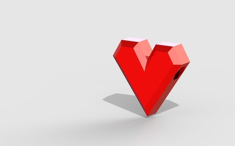Low-poly Heart bead  3D Print 39944
