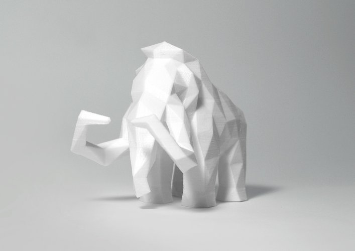 Low Poly Mammoth 3D Print 40144