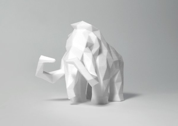 Medium Low Poly Mammoth 3D Printing 40144