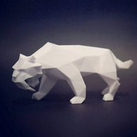 Small Low Poly Saber Toothed Tiger 3D Printing 40156