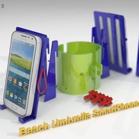Small Beach Umbrella Double Holder for Smartphones 3D Printing 40368