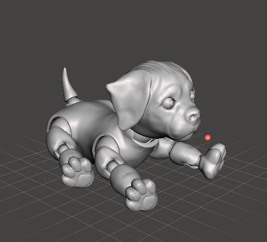 3d Jointed Puppy Dog Lying Down 3D Print 40439