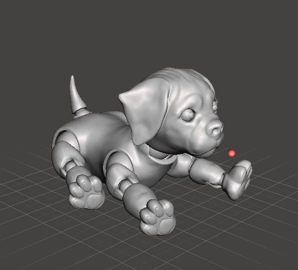 Medium 3d Jointed Puppy Dog Lying Down 3D Printing 40439