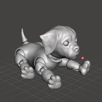 Small 3d Jointed Puppy Dog Lying Down 3D Printing 40439