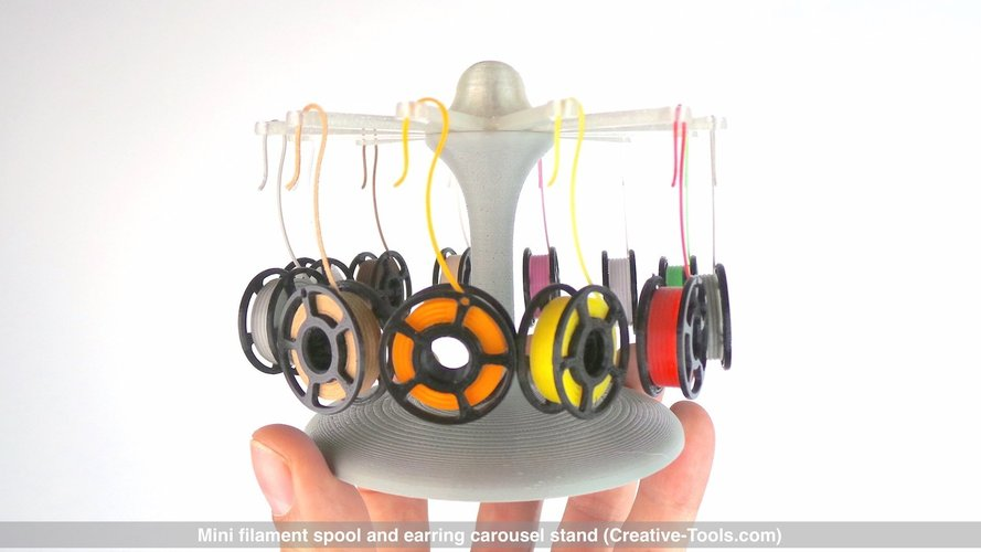 Mini filament spool and earring carousel stand 3D Print 41029