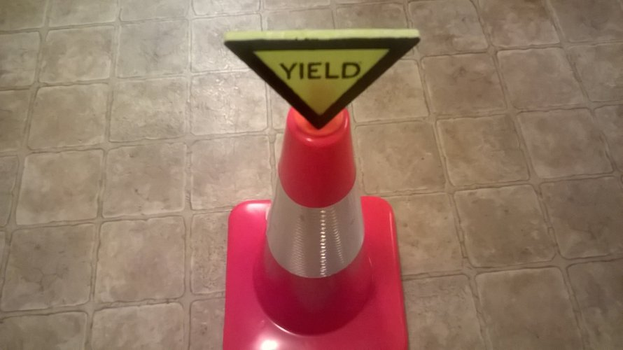 Yield Sign For Safety Cones 3D Print 41052