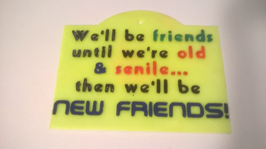 Friends Until Senile Sign 3D Print 41071