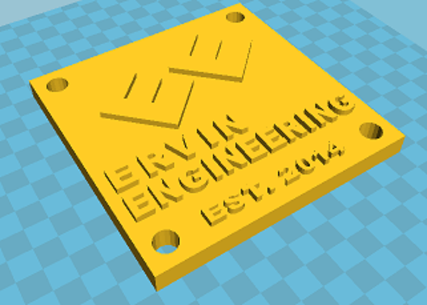 Medium Ervin Engineering Plaque 3D Printing 42449