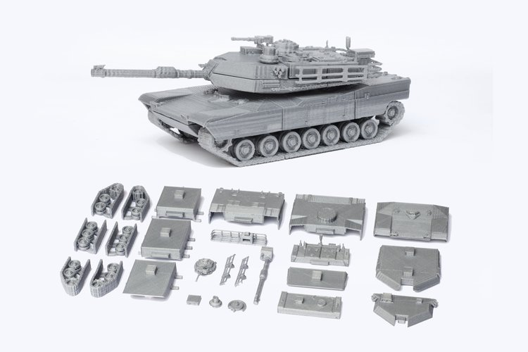M1 Abrams Tank Model Kit - 25 body parts 3D Print 42454