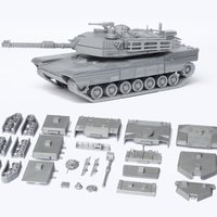 Small M1 Abrams Tank Model Kit - 25 body parts 3D Printing 42454