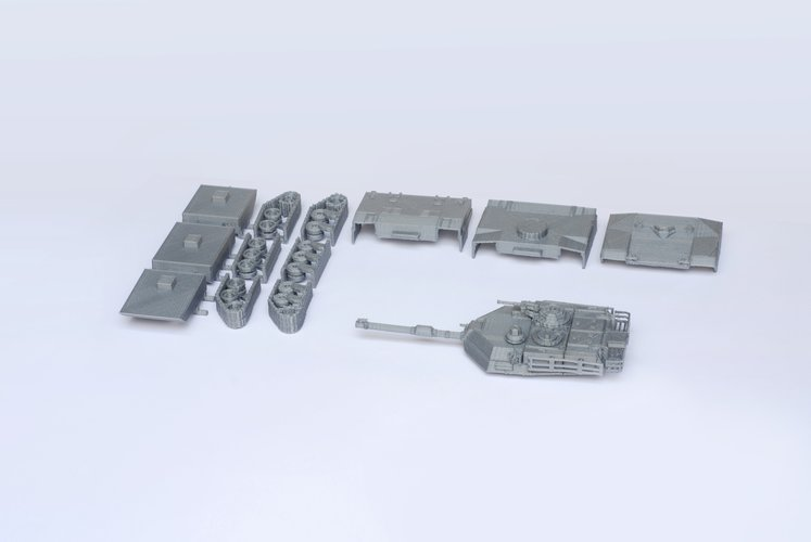 M1 Abrams Tank Model Kit - 25 body parts 3D Print 42458