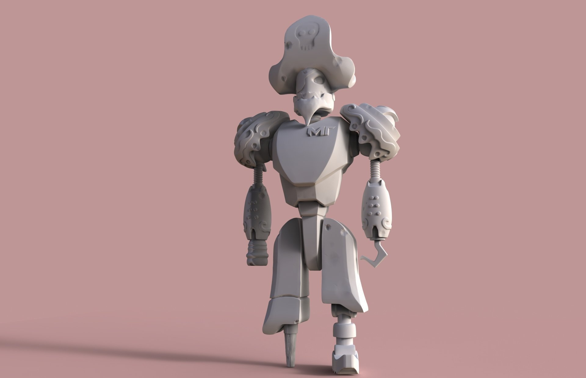 3d printed pirate robot by valerio bellia pinshape