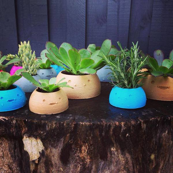 Medium Happy Planters- Large 3D Printing 4372
