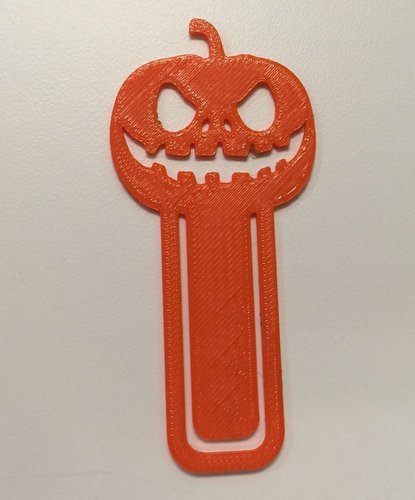 3d printed pumpkin bookmark for halloween reading by hereweigo