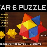 Small Star 6 Puzzle 3D Printing 44384