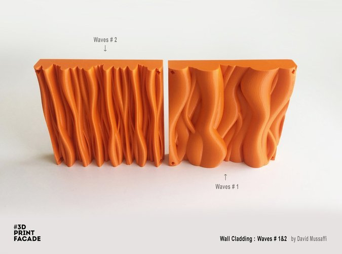 "Wall Cladding ""Waves"" #2 3D Print 44545"