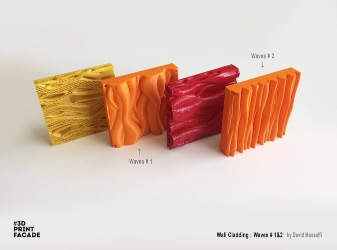 "Wall Cladding ""Waves"" #2 3D Print 44546"