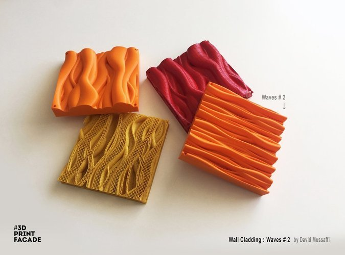 "Wall Cladding ""Waves"" #2 3D Print 44547"