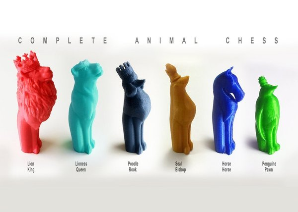 Medium Complete Animal Chess 3D Printing 44647