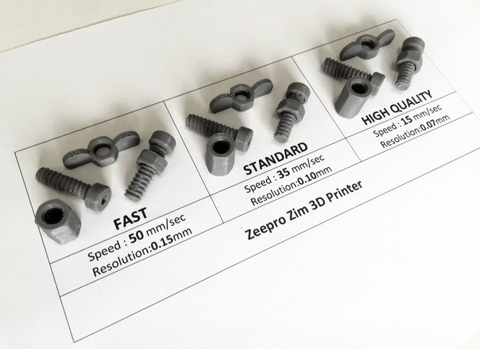 Zeepro Zim Quality Test - Nuts & Bolts 3D Print 44737