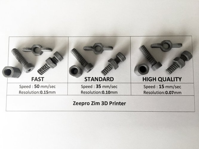 Zeepro Zim Quality Test - Nuts & Bolts 3D Print 44738