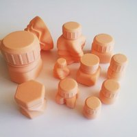 Small Bottles and Screw Caps 3D Printing 45032