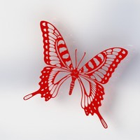 Small Butterfly-V1 Red 3D Printing 45357