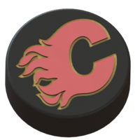 Small Calgary Flames logo on hockey puck 3D Printing 46154