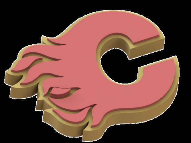 3d Printed Calgary Flames Logo By Rysard Poplavskij Pinshape