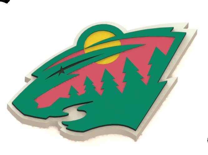 3d printed minnesota wild logo by ry ard poplavskij pinshape - Minnesota wild logo ...