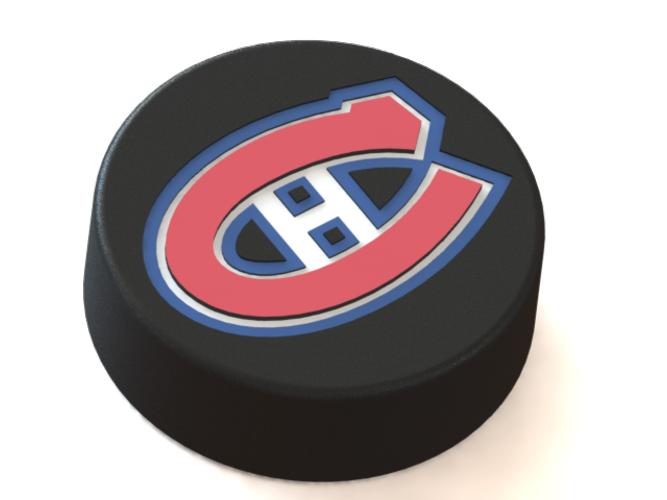 3d Printed Montreal Canadiens Logo On Ice Hockey Puck By Rysard Poplavskij Pinshape