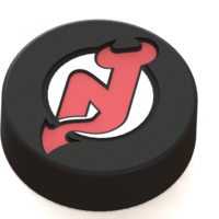 Small New Jersey Devils logo on ice hockey puck 3D Printing 46680