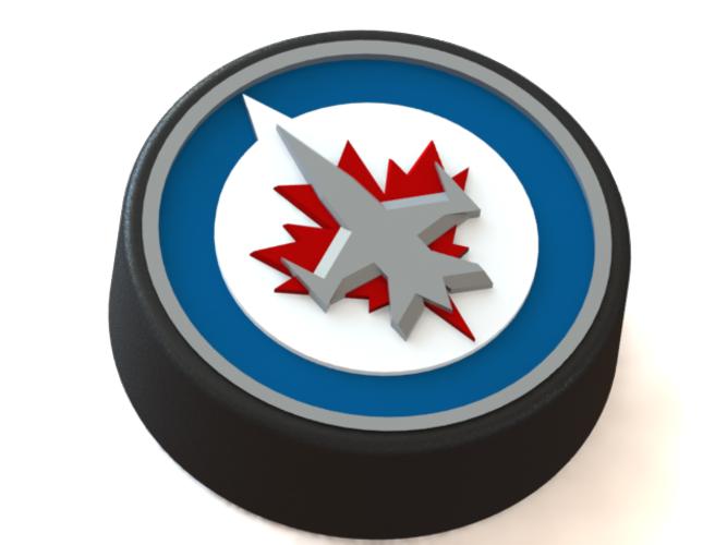 3d Printed Winnipeg Jets Logo On Ice Hockey Puck By Rysard Poplavskij Pinshape