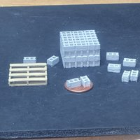 Small Concrete Block Pallet, O scale (1/48) 3D Printing 47367
