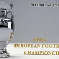Small UEFA Euro CUP Trophy by NQT.2015 3D Printing 48332