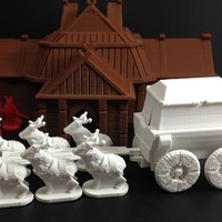 Small Elk-Drawn Wagon (18mm scale) 3D Printing 48366