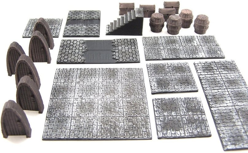 Effortless image inside 3d printable dungeon tiles