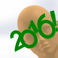 Small 2016 Happy New Year Fun Glasses 3D Printing 50746