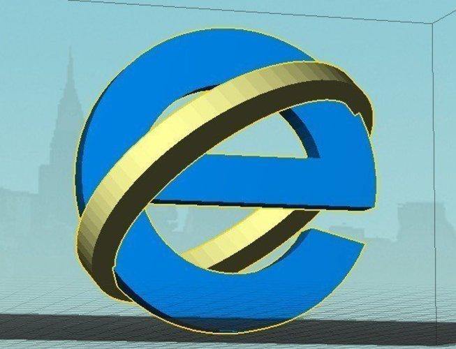 3d Printed Microsoft Internet Explorer Icon Dual By Michaeledi