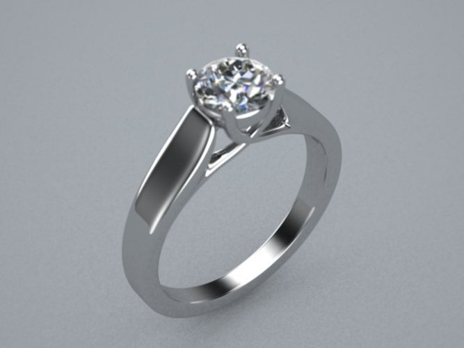 Single Diamond Ring(cross prong) 3D Print 510