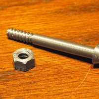 Small M6 bolt 50mm overall, 15mm threads 3D Printing 51966