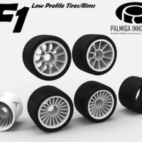 Small Low Profile Tires/Rims for OpenR/C F1 car 3D Printing 52040